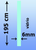 195 cm de altura, 6 mm de espesor